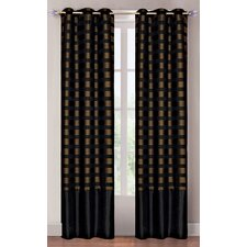 <strong>Lavish Home</strong> Black and Brass Grommet Curtain Panel (Set of 2)