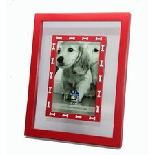 Glass Inlay with White Dog Bones Picture Frame