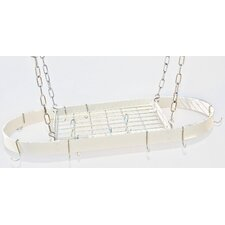 Gourmet Oval Designer Hanging Pot Rack with Grid