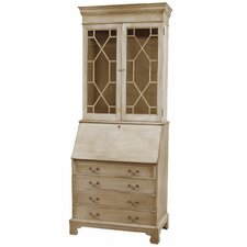 Traditions Painted Drawer Secretary with Laptop Pigeon Holes and Hutch
