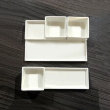 White Tie Combo 6-Piece Stackable Divided Serving Dish Set