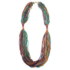 <strong>Helene Jewels</strong> Wood and Seed Beaded Necklace