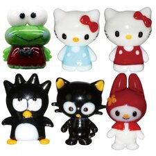 <strong>Looking Glass</strong> 6 Piece Hello Kitty 1, Hello Kitty 2, BadtzMaru, Chococat, Keroppi and My Melody Figurine Set