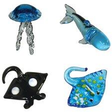 4 Piece Miniature JellyFish, SpermWhale, MantaRay, StingRay Figurine Set