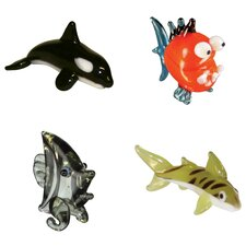 <strong>Looking Glass</strong> 4 Piece Miniature Orca, Piranha, AngelFish, TigerShark Figurine Set