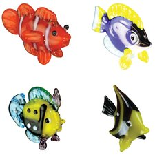 4 Piece Miniature ClownFish, TangFish, ReefFish, IdolFish Figurine Set