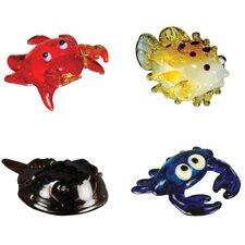 4 Piece Miniature Louie Crab, Tuffer PufferFish, Stu Horseshoe Crab, True BlueCrab Figurine Set