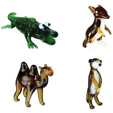 <strong>Looking Glass</strong> 4 Piece Miniature Alligator, Kangaroo, Camel, Meerkat Figurine Set