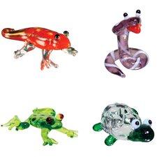 4 Piece Miniature Gecko, Cobra, DartFrog, Tortoise Figurine Set
