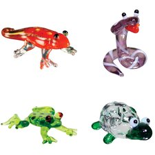 Miniature Gecko, Cobra, DartFrog, Tortoise Figurine Set