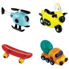 4 Piece Miniature Helicopter, Motorcycle, Skateboard, CementTruck Sculpture Set