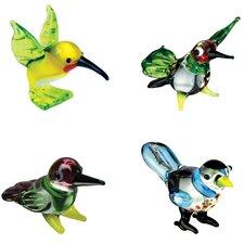 4 Piece Miniature Melissa HummingBird, Blurr Hummingbird, Flirt Hummingbird, BooBoo BullFinch Figurine Set