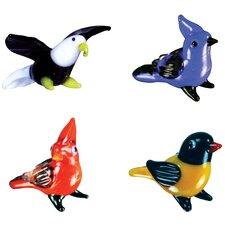 4 Piece Miniature Eagle, BlueJay, Cardinal, Priole Figurine Set
