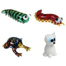4 Piece Miniature Caterpillar, Centipede, Frog, WhiteCat Figurine Set