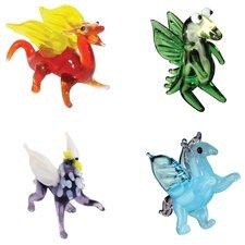 4 Piece Miniature Draco Dragon, Drew HappyDragon, Grady Griffin, Peggy Pegasus Figurine Set