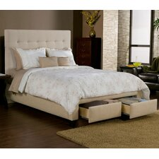 Manhattan Storage Platform Bed with 2 drawers and wingback headboard