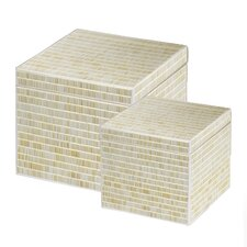 Mosaic Rustic Glass Box (Set of 2)