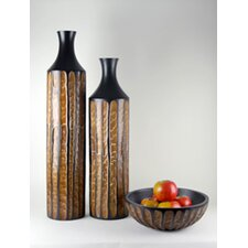 <strong>Modern Day Accents</strong> 3 Piece Reeded Vase and Bowl Set