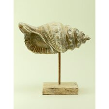 Wood Conch Shell on Stand