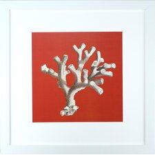 Seaside Living Coral on Red II Framed Graphic Art