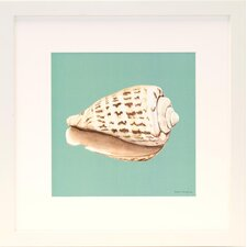 <strong>Indigo Avenue</strong> Seaside Living Shell on Aqua II Framed Wall Art