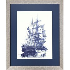 <strong>Indigo Avenue</strong> Seaside Living Antique Ship One Framed Wall Art