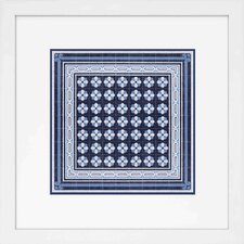 Fresh Traditions Living 'Italian Indigo Blue Mosaic Quattro' Framed Painting Print