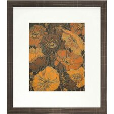 Floral Living Poppies Framed Graphic Art in Brown