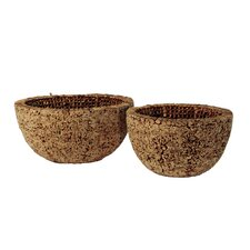 <strong>Ibolili</strong> Knotted Round Water Hyacinth Bowl (Set of 2)