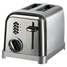 Metal Classic 2-Slice Toaster in Black and Stainless