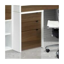 Liber-T Three Drawer File Cabinet in White/Walnut