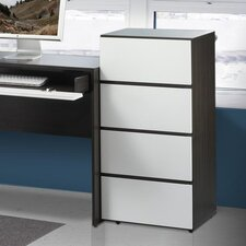 "<strong>Nexera</strong> Allure 36"" Storage Cabinet in White and Ebony with 3 Drawers"