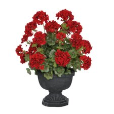 Artificial Geranium in Urn