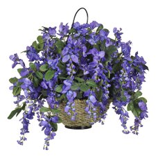 Artificial Wisteria Hanging Plant in Basket