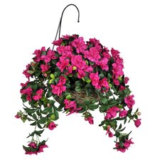 Artificial Azalea Hanging Plant in Basket