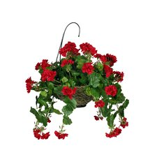 Artificial Geranium Hanging Plant in Basket