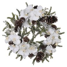 Artificial Iced Phalaenopsis Orchid / Pine Wreath