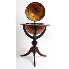 Globe Bar 3 Legged Pedestal Stand Red