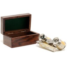 Opera Glasses with Mother of Pearl in Wood Box