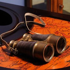 Binocular with Leather Overlay in Wood Box