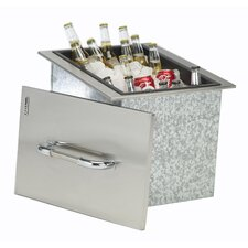 Stainless Steel Drop-In Ice Chest with Cover and Drain