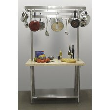 <strong>A-Line by Advance Tabco</strong> Chef's Prep Table with Wood Top and Pot Rack