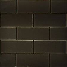 "<strong>The Bella Collection</strong> 8"" x 3"" Glass Tile in Dark Chocolate"