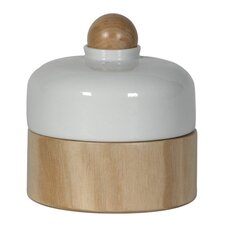Ceramic and Wood Short Container with Ball Lid