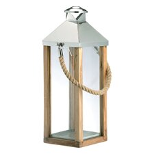 <strong>DK Living</strong> Metal and Glass and Wood Lantern