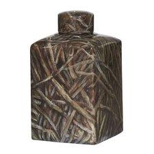 Ceramic Hand Painted Square Bamboo Jar