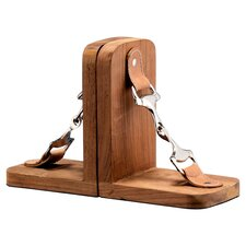 Equus Wood and Stainless Steel Bit Book End (Set of 2)