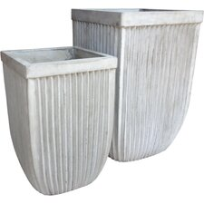 2 Piece Square Pot Planter Set