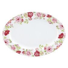 "Blossoming Rose 14"" Oval Platter"