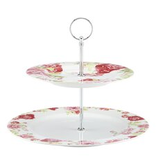 "<strong>Kathy Ireland by Gorham</strong> Blossoming Rose 11"" Two-Tiered Server"